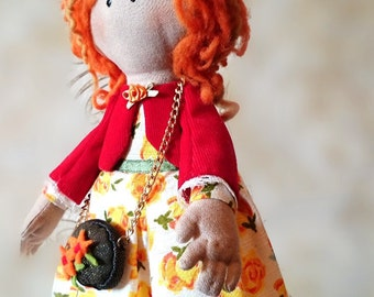 Fabric doll Alice interior doll Art cloth Doll OOAK collectable doll birthday gift for girls
