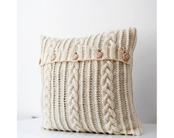 Cable knit pillow cover - holiday pillow - knit cushion - chunky pillow - milk white decorative knit pillow/ handmade home decor 16x16  0175