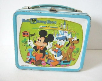 Vintage Walt Disney World Metal Lunch Box, Mickey Mouse, Donald Duck, Pluto