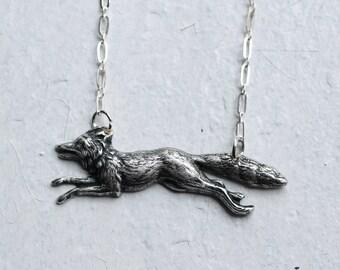 Fox Necklace ...  Woodland Fox Antique Silver
