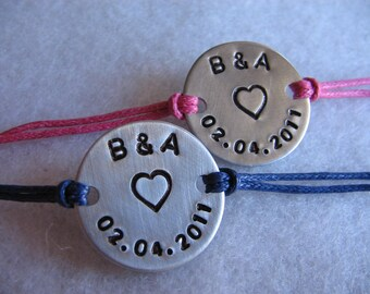His and Her Bracelet Set - Matching Bracelets - Cord Bracelet - His Bracelet - Her Bracelet - Customized Bracelets - Personalized Set