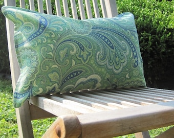 "Indoor Outdoor Pillows, Green Paisley Lumbar Covers,Pillows, Lumbar Pillows,12""x18"" inch decorative pillow,outdoor decor,patio decor"