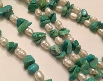 Genuine turquoise nugget necklace w/faux pearls 30""