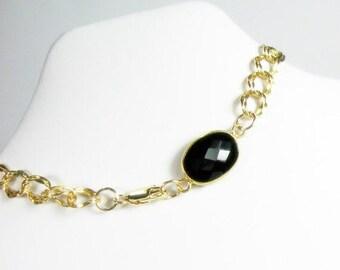 Black Onyx Bracelet, Gold Filled