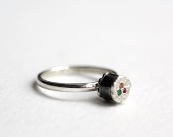 Maki Ring, Sterling Silver, Precious Stones, Sushi Jewellery, Food Jewellery, Handmade in Brighton, uk
