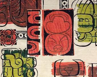 George Jetson Meets Pablo Picasso Mid Century Mod Barkcloth//  Tiki Tribal Design with a Mayan Twist// Cotton Yardage// Upholstery// Drapery