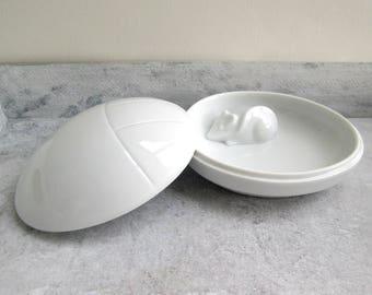Porcelain can with lid, mouse, Fürstenberg, Germand porcelain can, mouse, bowl vintage, porcelain can, lid