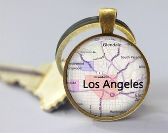 City Maps Los Angeles Glass Pendant/Necklace/Keychain