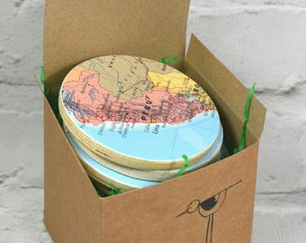 World map tag etsy custom world map coasters choose your locations comes in a presentation box free gumiabroncs Image collections