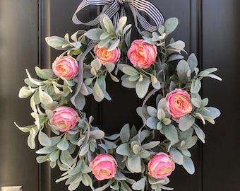 Lamb's Ear Wreath, Pink Cabbage Rose Wreath, Shabby Chic Decor, Lamb's Ear Decor, Spring Wreath, Trending Wreaths, Modern Wreaths