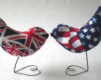 Cake Topper British & American Love Birds  Newburystreetchic Cake Toppers