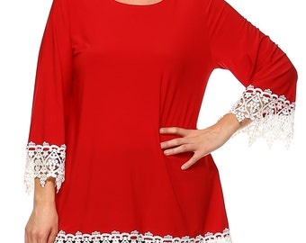 White Lace Tunic(Red)