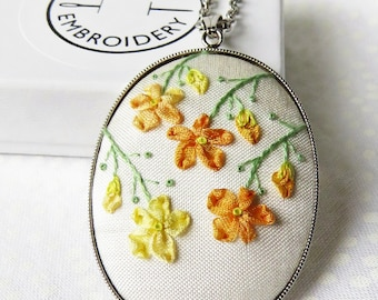 Ribbon embroidery necklace. Flower embroidery pendant  Ribbon embroidery jewellery Floral pendant Hand embroidery necklace