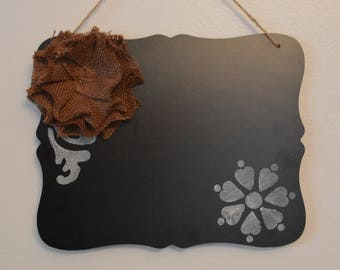 Boho Chic Chalkboard with Burlap Flower
