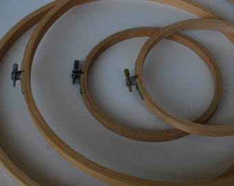 """Set of  4 Embroidery Hoop - Wooden Embroidery Hoops 12"""" and 6"""""""