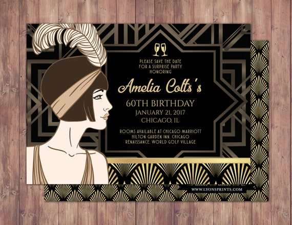 Great gatsby save the date invitation rsvp card roaring like this item bookmarktalkfo Gallery