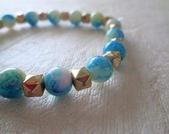 Beaded bracelet, glass and acrylic beads, colors as shown