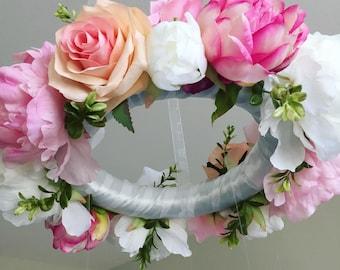 Flower Mobile, Floral Mobile, Hanging Mobile, Floral Baby Mobile, Baby Girl Mobile, Crib Mobile, Pink Nursery Decor, Crystal Mobile, Custom