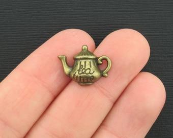 6 Teapot Charms Antique Bronze Tone - BC197