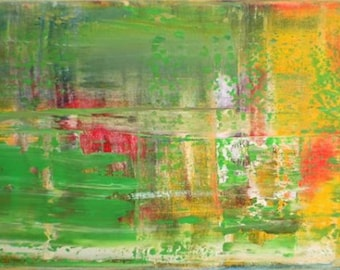 Inspired by Gerhard Richter Original Fine Modern Art Abstract Painting bright green medium sized colorfull