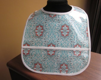WATERPROOF WIPEABLE Baby to Todller Plastic Coated Bib Coral, Teal and Cream