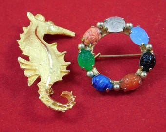 Vintage Pair of Broaches Seahorse and Ring