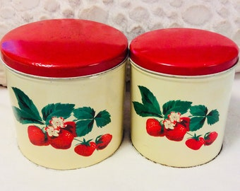 Vintage Strawberry Canister Tin Box Set by Parmeco 1950s