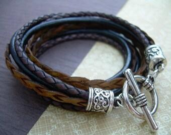 Womens Leather Bracelet, Leather Bracelet, Wrap Bracelet, Bracelet, Triple Wrap, Black, Brown, Womens Bracelet, Womens Gift,