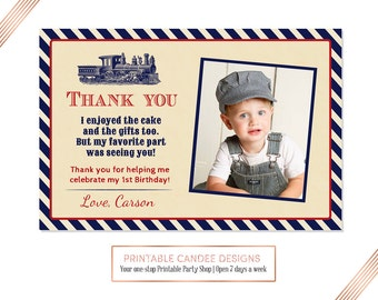 Train Thank you, Train 1st Birthday, Photo thank you card, Printable DIY