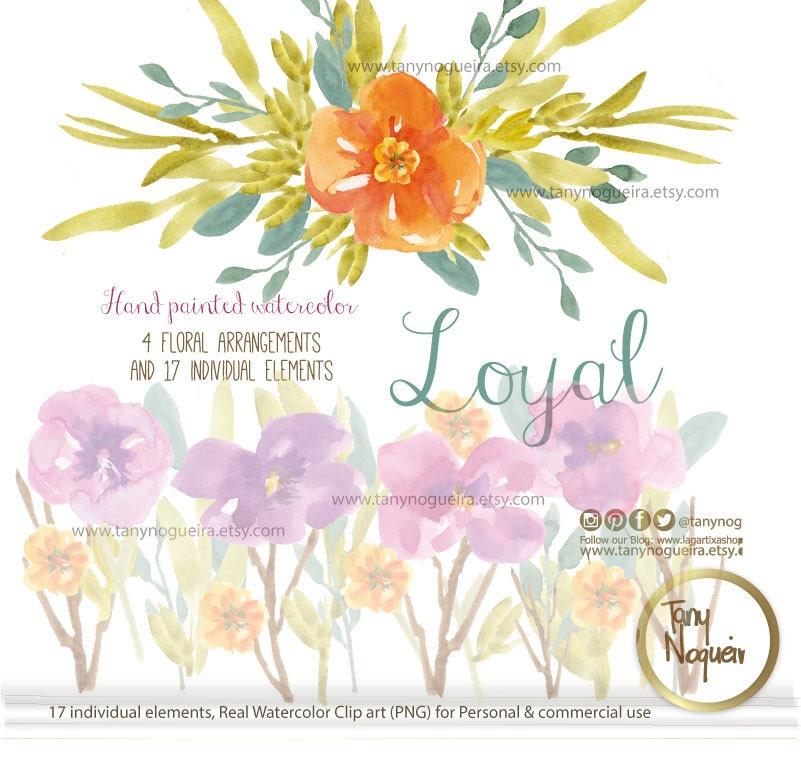 Flores en acuarela png Marcos Orillas Fondo transparente