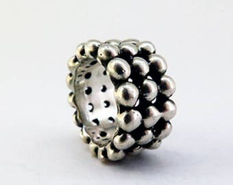 Bullet Ring - Heavy Sterling Silver Patterned Bullet Ring Handmade Jewelry Design Statement Silver Ring