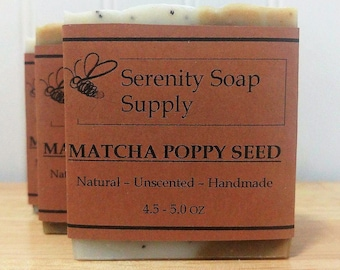 Matcha Poppy Seed Soap - Natural Soap - Facial Soap - Unscented Soap - Cold Process Soap - Vegan - Artisan - 4 Oz Bar