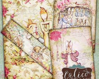 Peter Rabbit, Collage Sheet, Printable Ephemera, Decoupage Paper, Beatrix Potter, Digital Paper, Easter Images, Instant Download