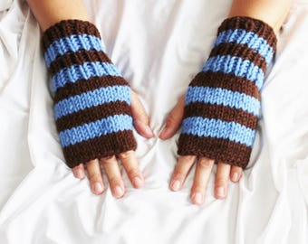 Fingerless Gloves - Blue and Brown Gloves  - Ready to ship