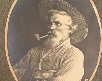 Vintage Sepia Photo, Old Farmer with Pipe, Original Sepia Photograph