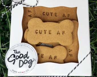 Cute AF Treat Box /  Grain Free Peanut Butter Treats / Dog Gift / Dog Cookies / Stamped Dog Treats