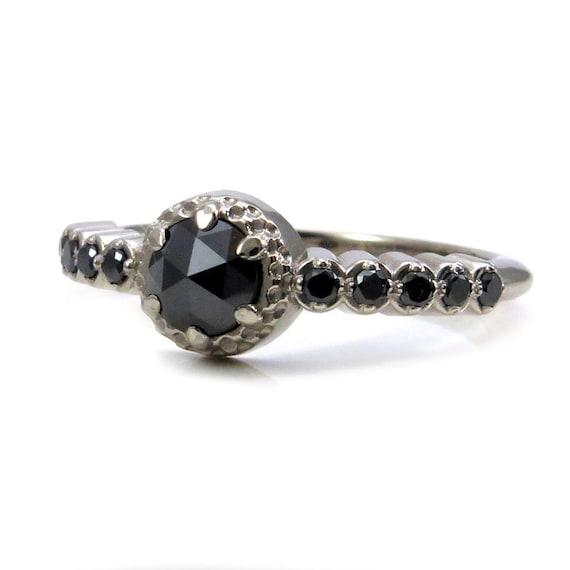 Modern Victorian Black Diamond Enagement Ring - 14k Palladium White Gold Alternative Wedding Ring