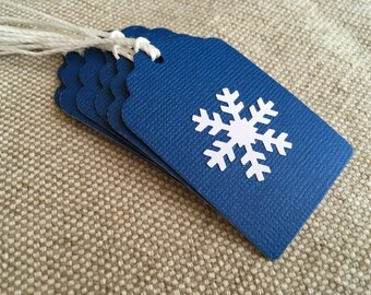 Blue with White Snowflake Gift Tags