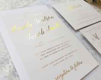 100 Gold foil wedding invitations, gold foil details card, gold foil wedding invite, gold foil RSVP, simple elegant invitation, gold foil