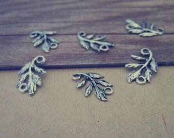 50pcs Antique silver leaf charm pendant  10mmx15mm