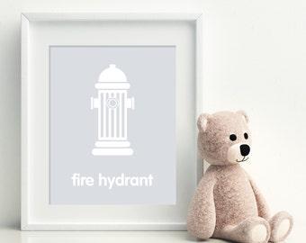 FIRE HYDRANT Nursery Art Print - art poster - nursery art - child's room decor
