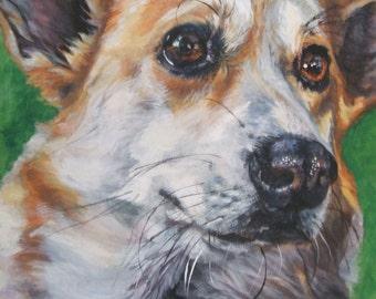 Pembroke Welsh Corgi dog art portrait CANVAS print of LA Shepard 12x16
