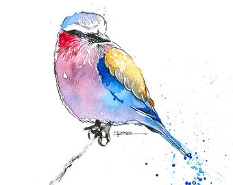 Watercolor Bird, Watercolor, Lilac Breasted Roller, Print