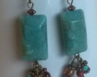 turquoise earrings. czech glass earrings. boho earrings