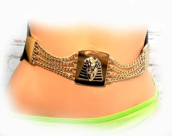 gold black belt - Gold Chain belt -  King Tut belt -  gold black stretch belt - black fashion belt, gold belt,   -Size M/L,  # B17