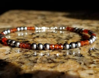"8.5"" Natural Hessenite Garnet Gemstone Bracelet with natural Black Pearls and Sterling Silver beads"