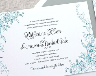 French Blue Floral Wedding Invitations, French Blue Wedding Invitations, Floral Wedding Invitations, Vintage Invitations, Vintage Florals