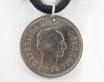 Colombia Coin Necklace, 20 Centavos, Mens Necklace, Womens Necklace, Coin Pendant, Leather Cord, Birth Year, 1971