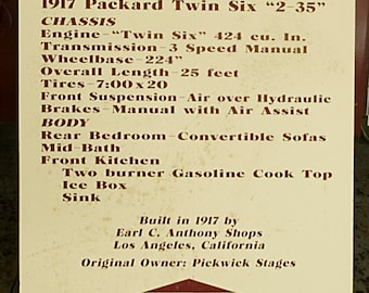 Display Card from Packard Motor Home