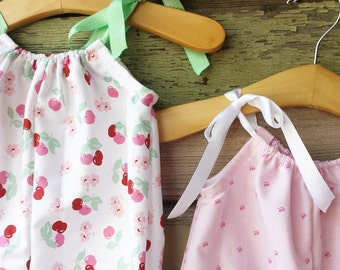 Bubble Romper, Pink Baby Outfit, Playsuit, cake smash outfit, coming home outfit, beach romper, baby girls clothes, cherry blossom, cherries